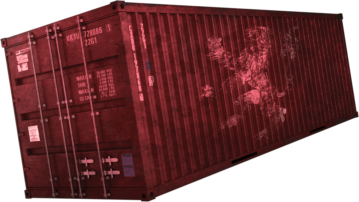tilted red cargo container submerging in water