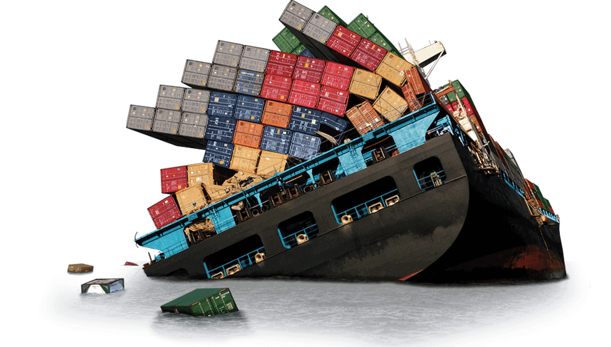Sinking ocean freight ship losing cargo containers