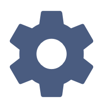 blue setting gear icon