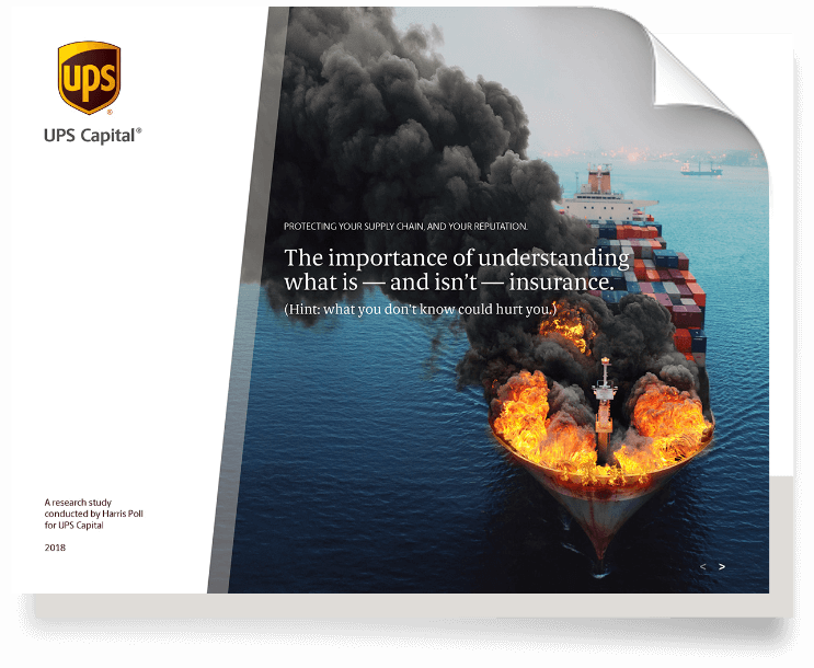 Cover Page of ocean cargo ship on fire with no cargo insurance