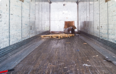 Cargo container empty after being unloaded