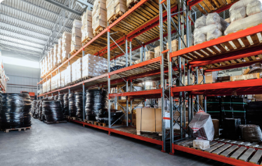 Inventory warehouse of cargo goods ready to be shipped